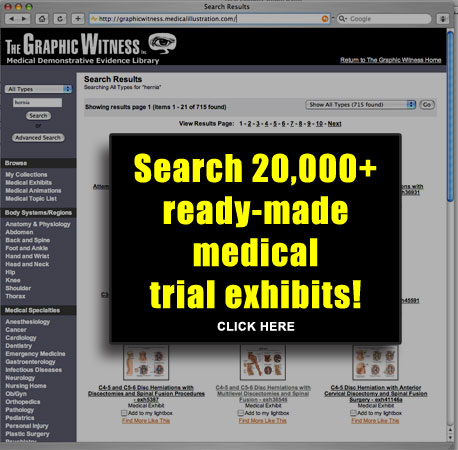 Search medical trial exhibits